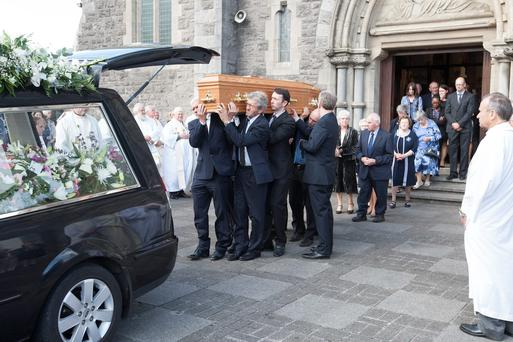 The remains of Sr Imelda Carew are carried from Mountmellick Parish Church. Picture: Alf Harvey