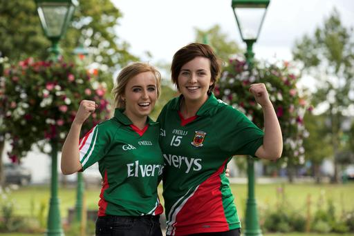 Mayo Fans Aoife King and Aisling Gallagher from Castlebar, Co. Mayo getting ready for the All Ireland Football Championship Semi Final match against Kerry in Croke Park. Photo : Keith Heneghan