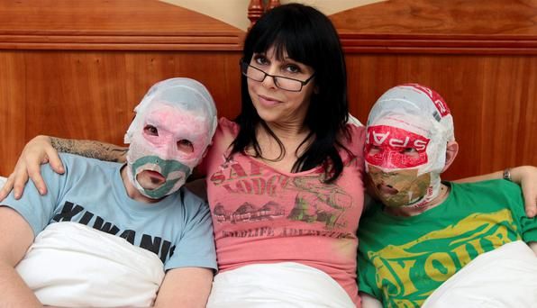 Antonia Leslie with the Rubberbandits