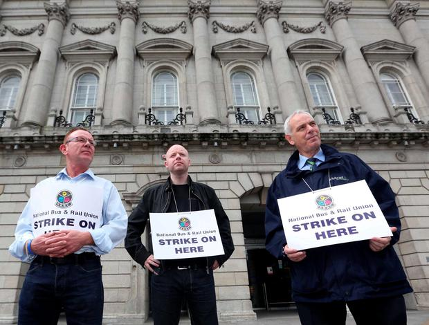 Members of the National Bus And Rail Union outside Heuston Station