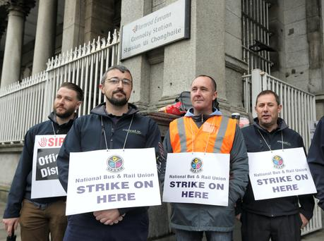 Iarnoid Eireann workers on strike outside Connolly train station yesterday. Photo: Damien Eagers