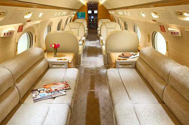 The impressive interior of the Gulfstream IV.