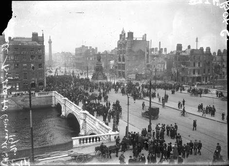 O'Connell Street lies in ruins after the 1916 Rising.
