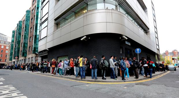 Queuing on Burgh Quay