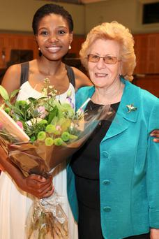 Overall Winner Pumeza Matcshikiza & Veronica Dunne at the National Concert Hall for The 6th Veronica Dunne International Singing Competition. Photo: Anthony Woods