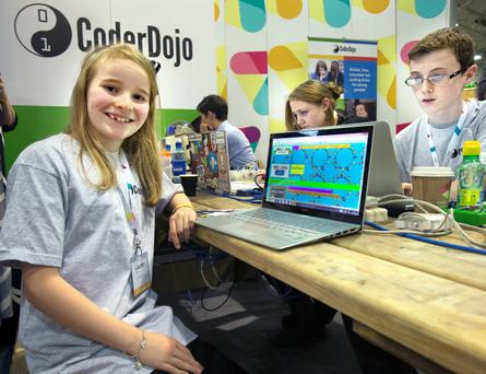 Lauren Boyle of the Cool Kids Studio at the Coder Dojo stand at the Web Summit in the RDS