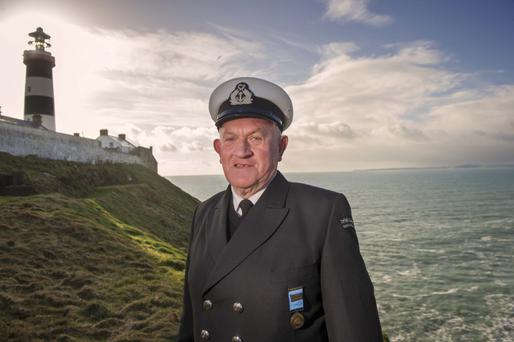 Hero: Irish Coast Guard legend Michael O'Regan, who is is retiring after a distinguished 50-year service during which he participated in more than 1,000 call-outs, at the Old Head of Kinsale Lighthouse in west Cork. Photo: Michael MacSweeney