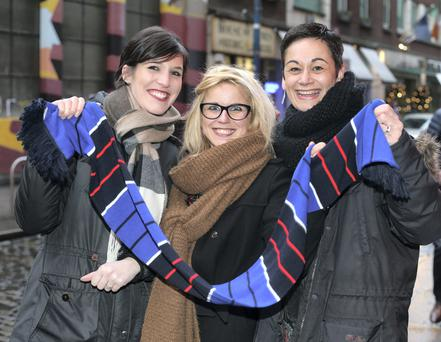 French supporters Claire Ferrari, Jessica Grun and Alexandra Vieao - all from Metz - enjoy the fun in Temple Bar. Picture: Damien Eagers