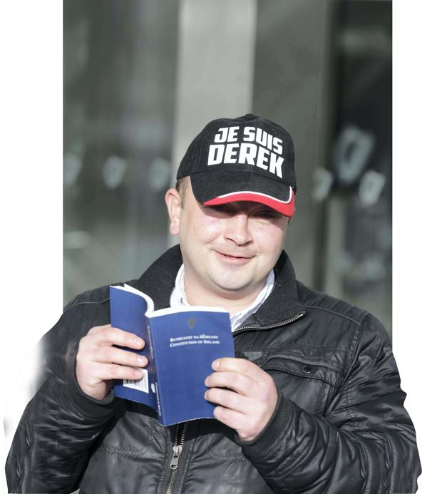 Water Protester Derek Byrne arriving to the high Court in Dublin yesterday. Photo: Collins Courts
