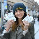 Amy Ua Bruadair originally from Co. Derry celebrates getting her Ed Sheeran Croke Park tickets at St Stephens Green Shopping Centre in Dublin