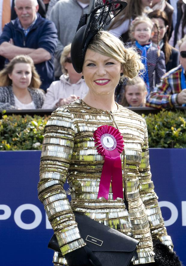 Winner of the Carton House Most Stylish Lady 2014 at Fairyhouse was Capt Catherine Lundon, from Mullingar Co. Westmeath. Photo: Colm Mahody
