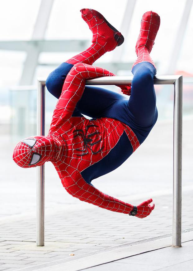 Lukas Kirsten-Lucier dressed as Spiderman attends 'Fan Expo Vancouver 2015' in Vancouver