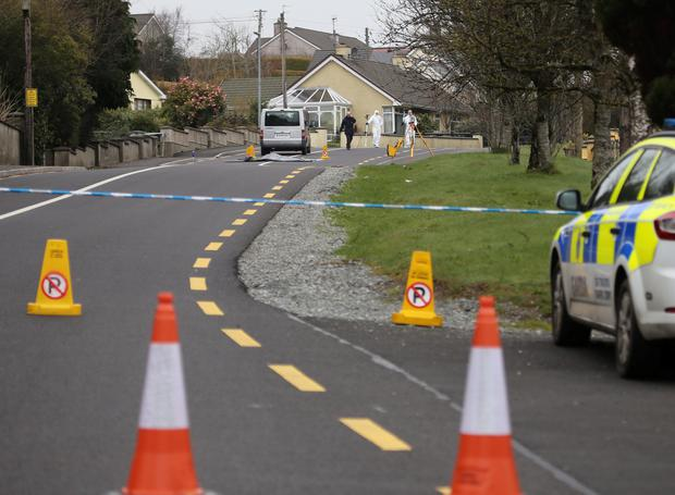 Garda forensics officers at the scene in Stranorlar, Co Donegal