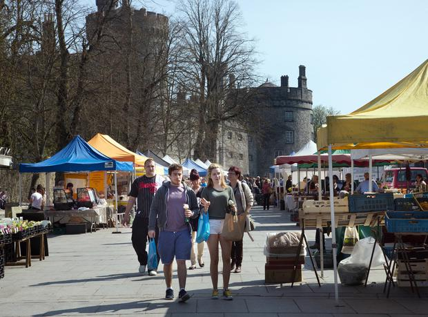 MARBLE CITY: Traders say business has picked up in the farmers' market in Kilkenny recently. Photo: Tony Gavin