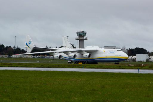 12/4/2015 REPRO FREE The worlds largest jet has made a fuelling stop at Shannon Airport. The Antonov An-225 Mriya touched down shortly before 3am Sunday morning and remained at Shannon Airport until 22.00. The Antonov 225 ?Mriya?, meaning ?Dream?, was designed and built by the Antonov Design Bureau in the Ukraine and first flew on December 21st 1988. Pic Sean Curtin Photo.