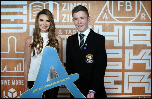 Elliot Davis (16) from Newbridge College pictured with Nadine Coyle from Girls Aloud at the Anti Bullying Ambassador Awards held in Dublin Docklands