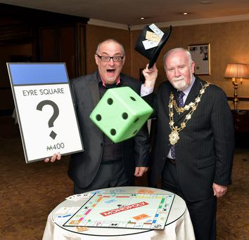 Graham Barnes and Cllr Donal Lyons at the launch of Monopoly Galway
