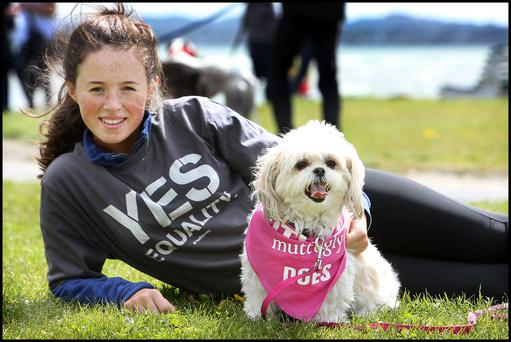 Robyn Neilan (16) from Ranelagh and 'Coco' took part in the Yes Campaign dog walk organised by the Hounds for Love at Sandymount
