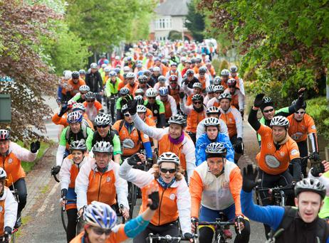 A thousand cyclists reach the RTÉ studios after a 1,400km journey around Ireland for Cycle Against Suicide