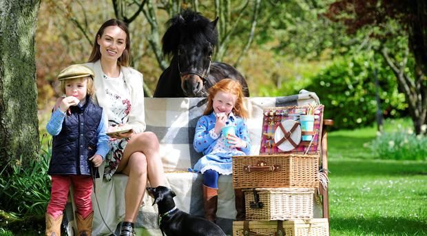 Daniella Moyles with Ross Murray, Kacey Lou Carberry and 'Alfred' the pony at the launch of the Tattersalls International Horse Trials and Country Fair