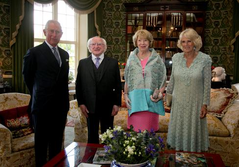 Prince Charles, President Michael D Higgins with his wife Sabina and the Duchess of Cornwall