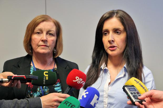 Plea: Rita Byrne, from Tusla, and Sergeant Maeve O'Sullivan speak to the media about baby Maria