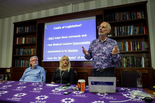 Left to right: Tom Curran, Gail O'Rorke and Dr Philip Nitschke speaking at the Exit International Dublin conference on assisted suicide