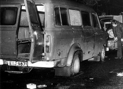 The bullet-riddled bus near Kingsmill, Co Armagh, in which 10 Protestant workers were massacred on the way home from work