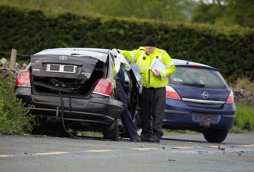 The scene of the crash at the N17 outside Tuam, Co Galway
