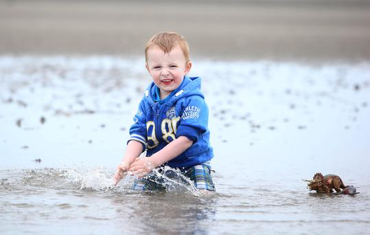 Charlie O'Farrell enjoys himself on Sandymount beach