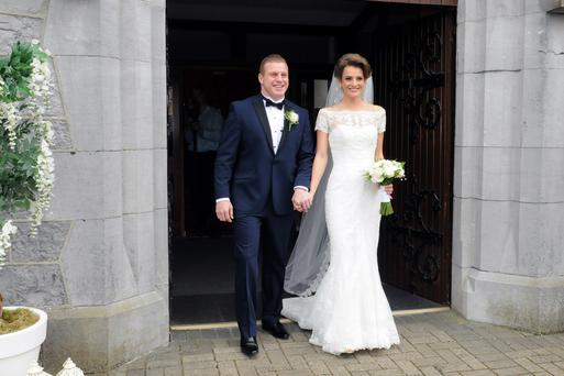 Sean Cronin and Claire Mulcahy after their wedding ceremony at St Joseph's Catholic Church, Castleconnell, Co Limerick, yesterday