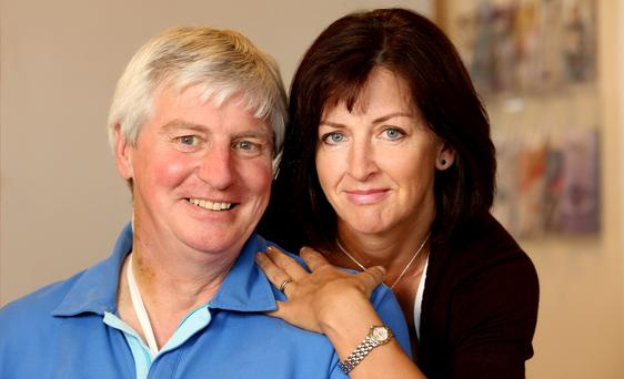 BACK FROM THE DEAD: RTE sports presenter Michael Lyster was given the kiss of life by his wife Anne after he collapsed at his South Dublin home with heart failure. He is now recovering in St Vincent's Hospital