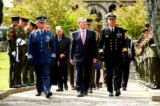 Taoiseach Enda Kenny with Rear Admiral Mark Mellett, new Chief of Staff of the Defence Forces