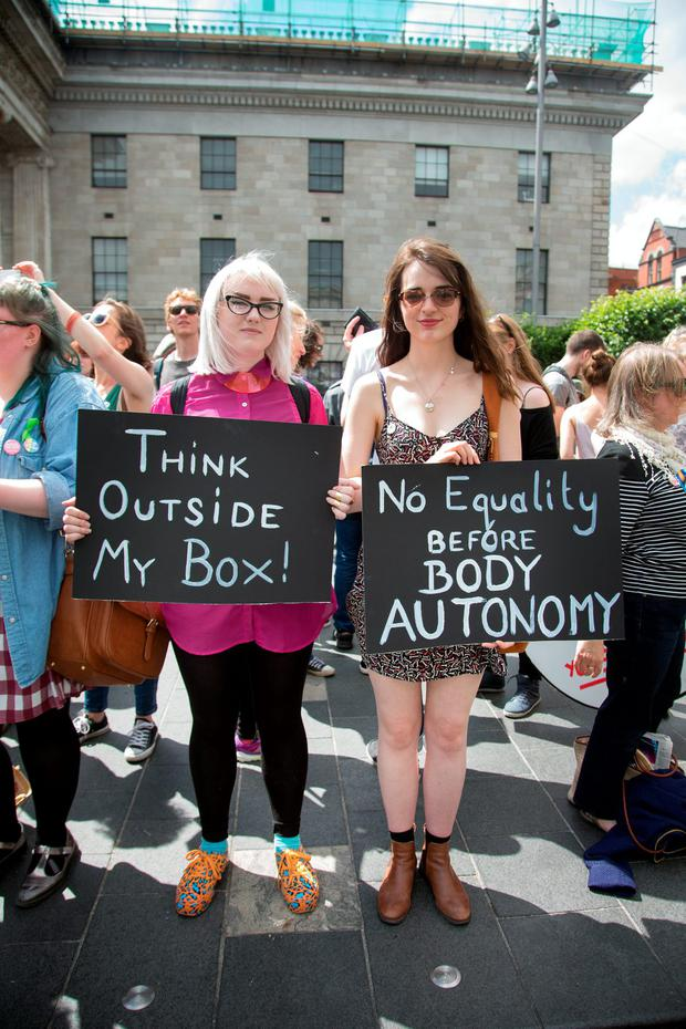 Pro Choice supporters Ling Heaney and Alice Russell from Bray, Co. Wicklow on O'Connell Street yesterday