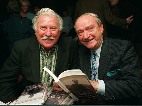 GAEILGEOIR: Liam O Murchu, right, launches his book 'Black Cat in the Window', with Joe Lynch of 'Glenroe' fame