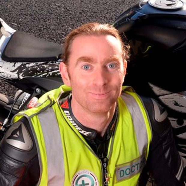 Dr John Hinds (35) died from injuries he suffered when he crashed while on duty at the Skerries 100 practice session in north Dublin last weekend