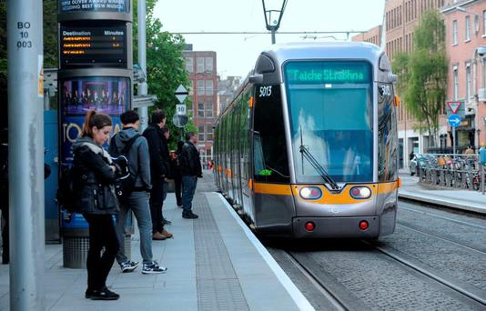 Luas arriving at St. Stephen's Green stop