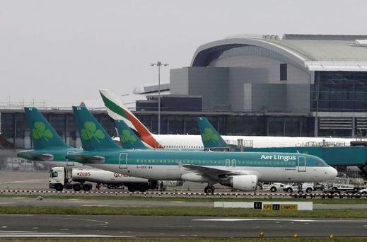 Aer Lingus planes at Dublin Airport
