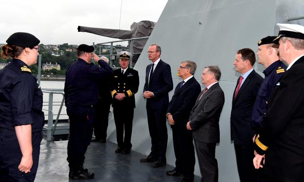 Defence Minister Simon Coveney addresses the crew of the LÉ Niamh before they leave for the Mediterranean