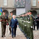 President Michael D Higgins inspects a guard of honour at the National Day of Commemoration at Royal Hospital Kilmainham
