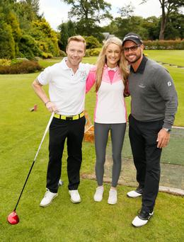 Ronan Keating and Storm Uechtritz, with Keating's former band-mate Keith Duffy, at the 2015 Marks & Spencer Ireland Marie Keating Foundation Celebrity Golf Classic