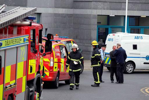 Emergency services at Cloverhill Prison after inmates staged a protest on the roof of the prison