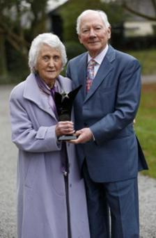 Road Safety Campaigner and founder of Mothers Against Drink Driving Gertie Shields and broadcaster Gay Byrne