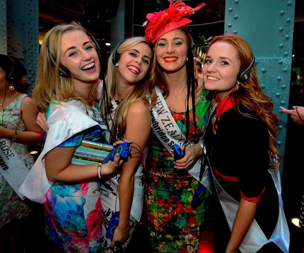 Meath Rose Elysha Brennan, Melbourne Rose Joy Kerrigan, New Zealand Rose Maggie Fea and Germany Rose Roisin Ni Mhathuna take the tour at the Guinness Storehouse yesterday