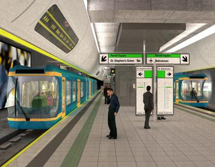 An artist's impression of a Metro North station