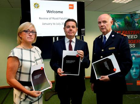 RSA chief executive Moyagh Murdock (left) with Transport Minister Paschal Donohue and Supt Con O'Donohoe at the review of road fatalities