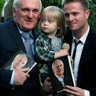 Bertie Ahern with son-in-law Nicky Byrne and grandson Jay
