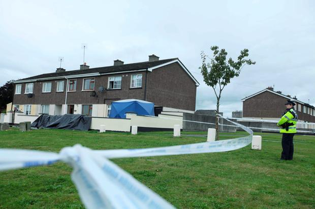 GUN ATTACK: Gardai at the scene where Jason Doogue was murdered in the Greenhills area of Athy, Co Kildare