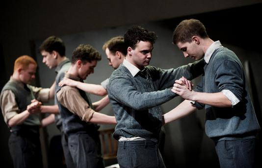 Brian Bennett, Seamus Brennan, Sean Flanagan, Robert Bannon, Keith Burke and Stephen O'Rourke in the Abbey Theatre world premiere of CHRIST DELIVER US! by Thomas Kilroy, directed by Wayne Jordan, on the Abbey stage, Tuesday 16 February to Saturday 13 March 2010. Pic by Ros Kavanagh