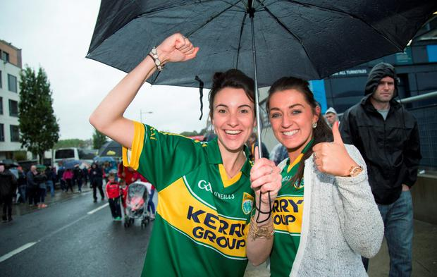 Kerry fans Michelle Long & Louise O'Connor celebrate after winning against Tyrone in the All-Ireland Senior Football semi-final today at Croke Park
